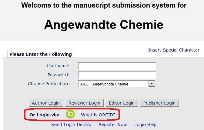 Angewandte Chemieの投稿画面